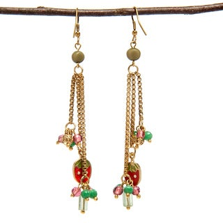 Handmade Enamel Fruit Charm Wire Earrings (India)
