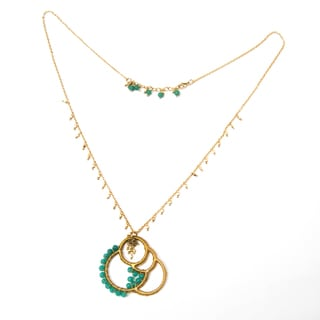 Handmade Brass Necklace with Green Beads (India)