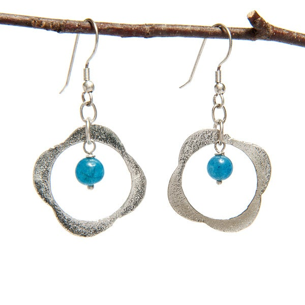 Handmade Clover Shaped Silver Earring with Blue Glass Bead (India)