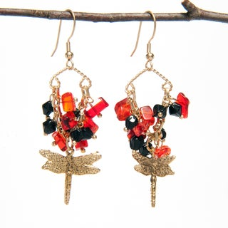 Handmade Glass Bead Earrings with Dragonfly Charm (India)