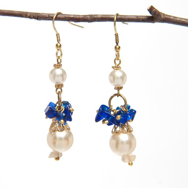 Handmade Pearl and Uncut Stone Earrings (India)