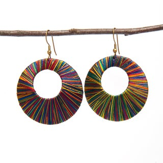 Handmade Multi-colored Thread Earrings (India)