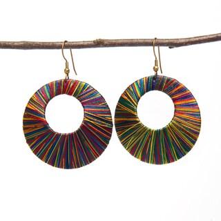 Handmade Multi-colored Thread Earrings (India)