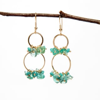 Handmade Aqua Glass Bead Earrings with Golden Hoops (India)