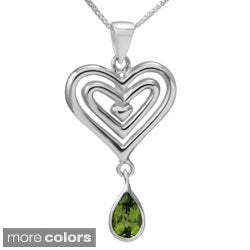 Sterling Silver 'Open Hearts' Gemstone Necklace (Thailand)