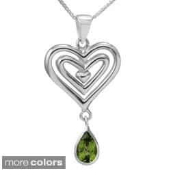 Handmade Sterling Silver 'Open Hearts' Gemstone Necklace (Thailand)