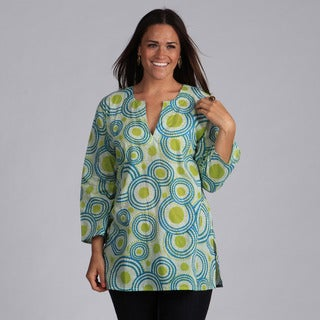 Handmade Green and Blue Circles Cotton Tunic (India)