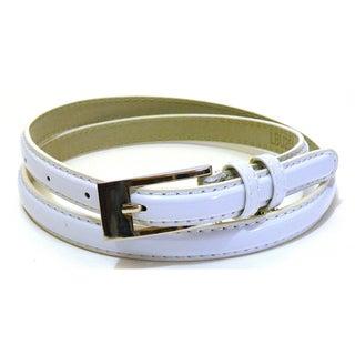 Women's White Patent Leather Skinny Dress Belt