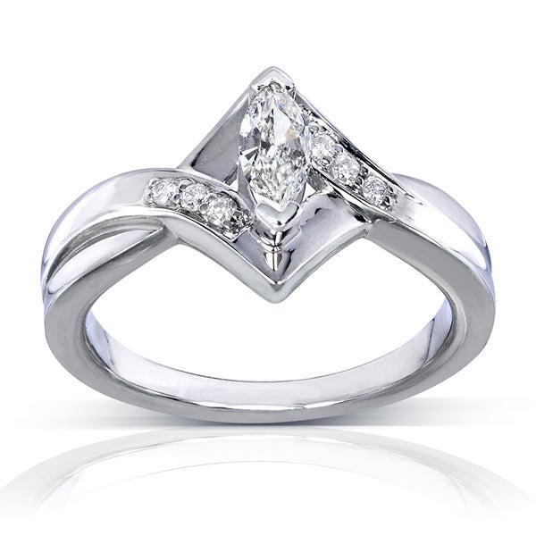 Annello by Kobelli 14k White Gold 1/3ct TDW Marquise Diamond Engagement Ring (H-I, I1-I2)