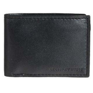 Geoffrey Beene Men's Black Leather Slim Bi-fold Wallet