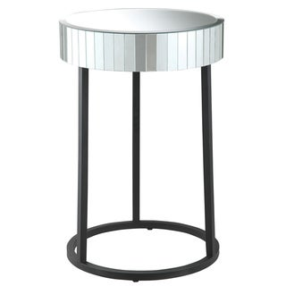 Krystal Round Mirror and Metal Leg Accent Table