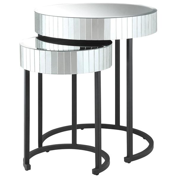 Krystal Round Mirror 2 Piece Nesting Table Set