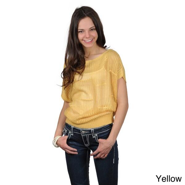 Journee Collection Juniors Crochet Short Sleeve Top