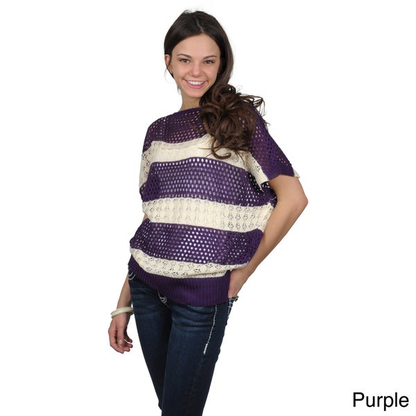 Journee Collection Juniors Striped Crochet Batwing Top