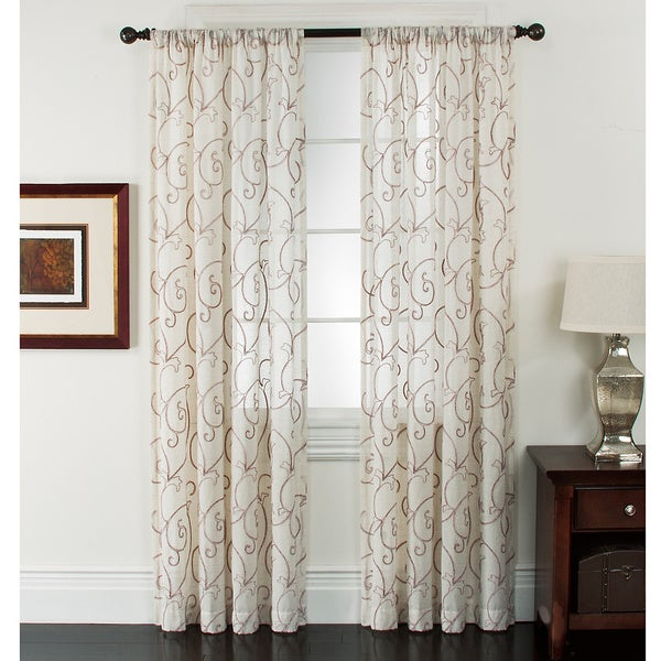 Riverhead Linen Embroidered Curtain Panel Pair Free