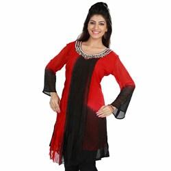 Handmade Red/Black Shaded Viscose Georgette Kurti Tunic (India)