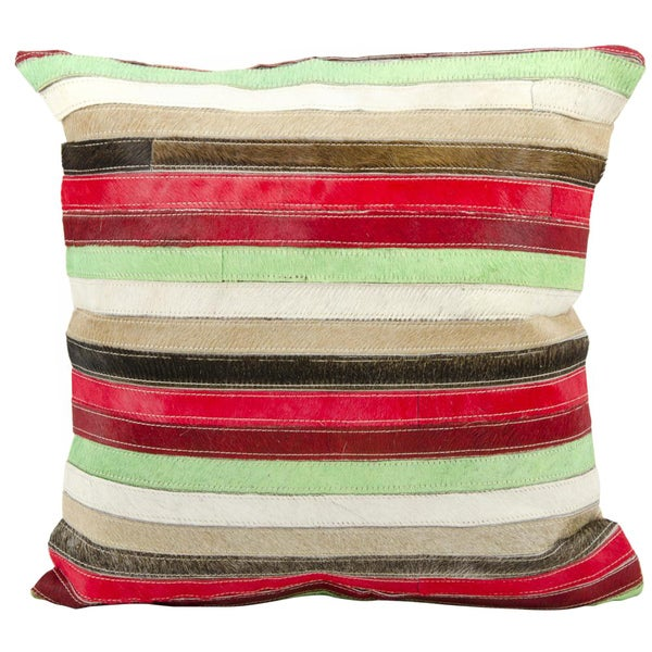 Mina Victory Natural Leather and Hide Stripes Multicolor Throw Pillow (20-inch x 20-inch) by Nourison