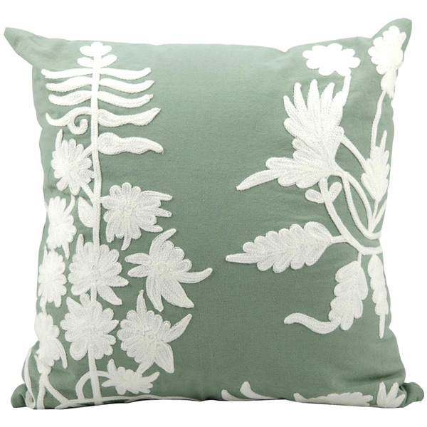 Mina Victory Lifestyle Embroidery Lily Throw Pillow (20-inch x 20-inch) by Nourison