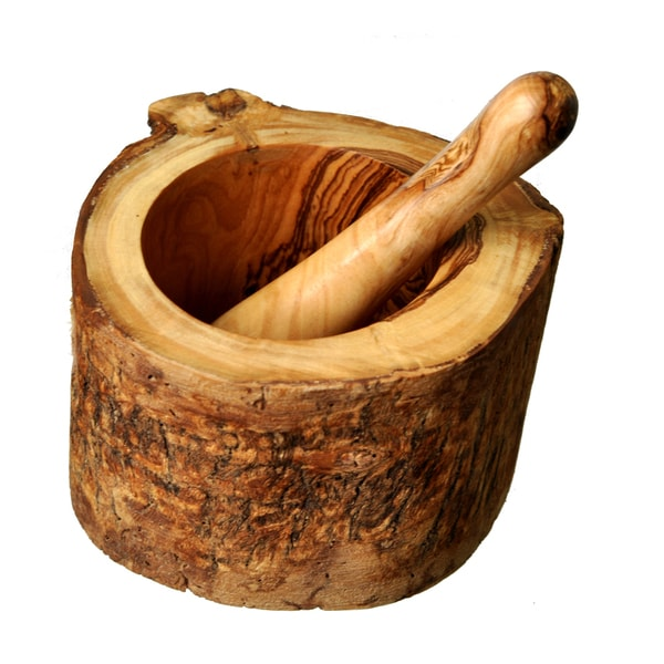 Hand-Crafted Olive Wood Rustic Mortar and Pestle (Tunisia)
