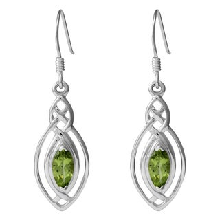 Sterling Silver Classic Celtic Knot Design Natural Marquise Peridot Gemstone Earrings (Thailand)