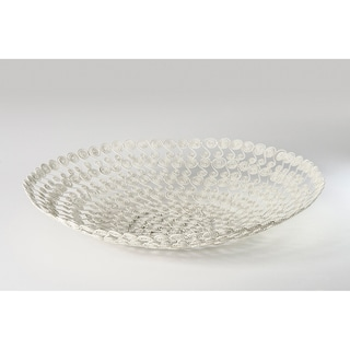 Handmade White Swirl Wire Basket (India)