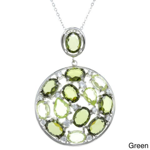 La Preciosa Sterling Silver Multi CZ Circle Pendant Necklace