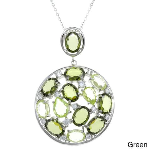 La Preciosa Sterling Silver Multi CZ Circle Pendant Necklace