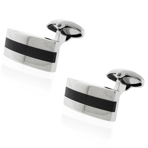 Stainless-Steel Black Carbon-Fiber-Inlay Cuff Links with Hinge Clasp