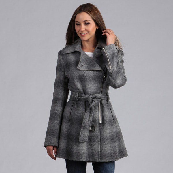 Kenneth Cole Women's Belted Zip Front Ombre Plaid Coat