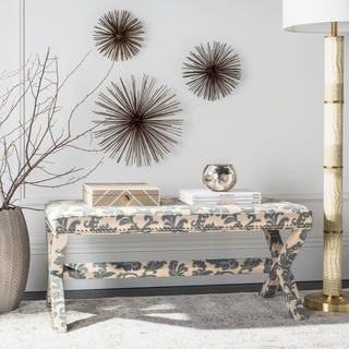 Safavieh Melanie Floral Beige/ Slate Extended X-Bench