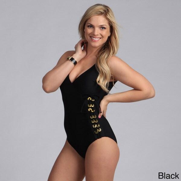 Ocean Jewel Women's Beaded Surplice One Piece Swimsuit