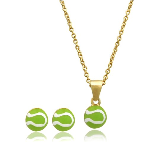 Molly and Emma 18k Gold Overlay Children's Enamel Tennis Ball Jewelry Set