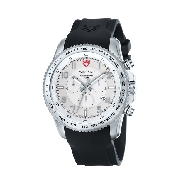 Swiss Eagle Men's 'Landmaster' Chronograph White Dial Watch