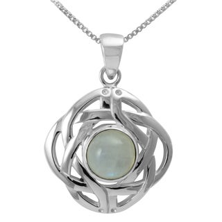 Handmade Sterling Silver Classic Celtic Knot Round Natural Moonstone Necklace Thailand