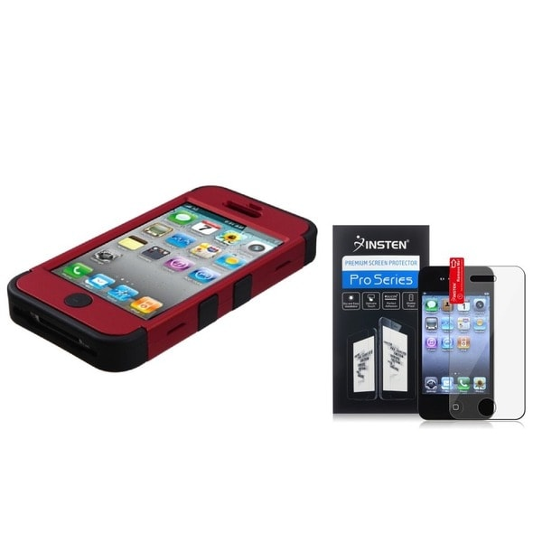 INSTEN Red/ Black Phone Case Cover/ Screen Protector for Apple iPhone 4