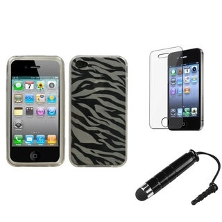INSTEN Phone Case Cover/ Screen Protector/ Mini Stylus for Apple iPhone 4/ 4S