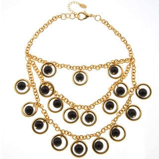 Amrita Singh Goldtone Black Resin Bib Bubble Necklace