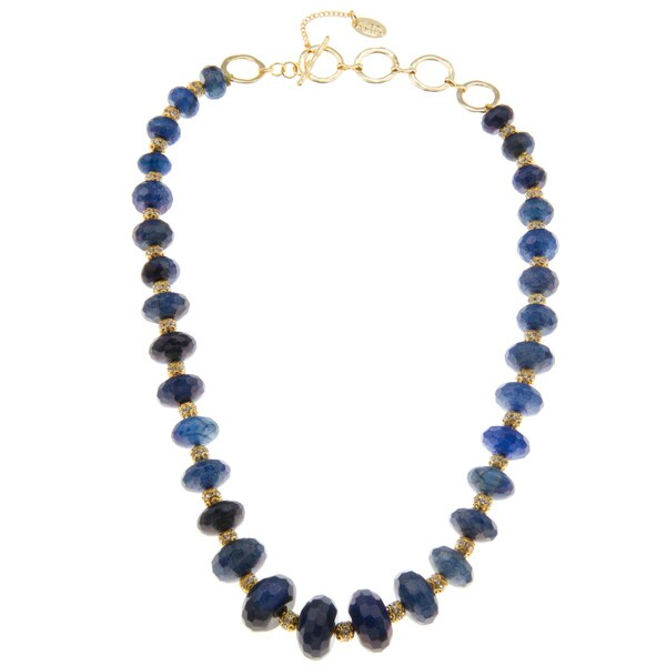 Amrita Singh Goldtone/ Blue Stone Beaded Necklace
