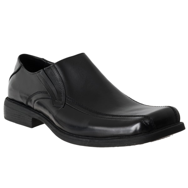 Steve Madden Men's 'Exyte' Black Leather Square-toe Loafers