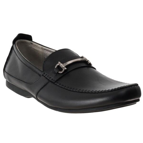 Steve Madden Men's 'Kattsblk' Black Leather Slip-on Dress Shoes
