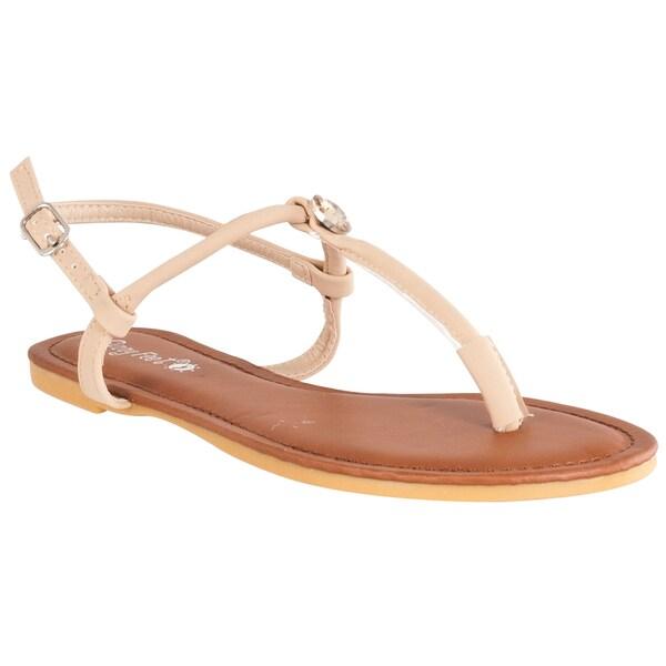 Riverberry Women's 'Morris' Natural Rhinestone Detailed T-strap Sandals