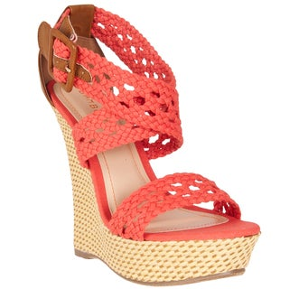 Riverberry Women's 'Pompey' Coral Crochet Strap Wedge Sandals