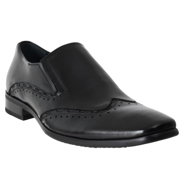 Steve Madden Men's 'Premire' Black Leather Slip-on Dress Shoes