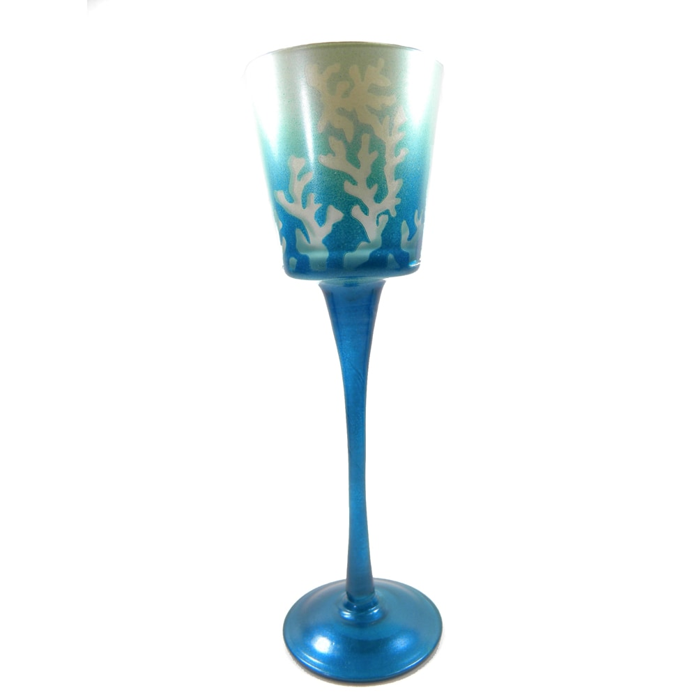 Gobblet Hurricain Style Candle Holder Frosted Glass Coral...