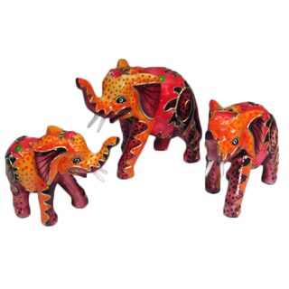 Set of 3 Carved Red Elephants, Handmade in Indonesia