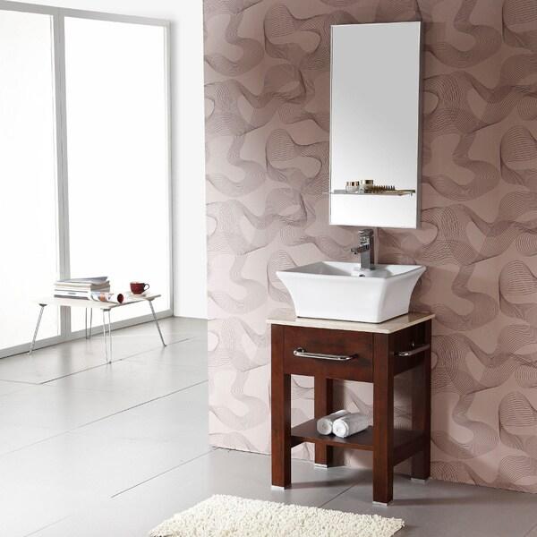 Single Vessel Marble Top with Mirror Sink Bathroom Vanity