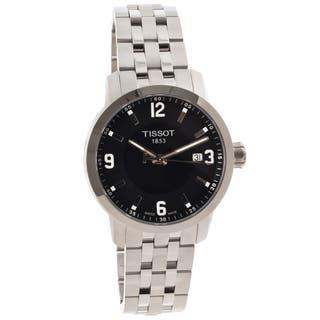 Tissot Men's T0554101105700 PRC 200 Round Silvertone Bracelet Watch|https://ak1.ostkcdn.com/images/products/7946088/Tissot-Mens-PRC-200-Stainless-Steel-Black-Dial-Watch-P15320161.jpg?impolicy=medium