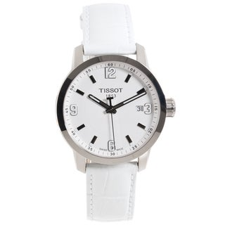 Tissot Women's 'PRC 200' White Leather Strap Watch