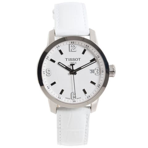 Tissot Women's 'PRC 200' White Leather Strap Watch