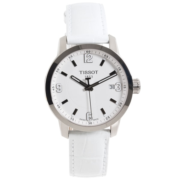 Shop Tissot Women s  PRC 200  White Leather Strap Watch - Free Shipping  Today - Overstock - 7946089 5bfca2dc45